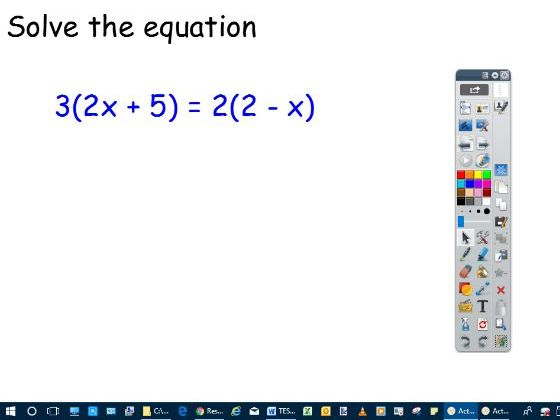 Lesson slides- Solving where there are brackets and variable either side of equals sign