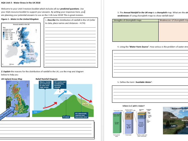 Unit 3 AQA Water Stress in the UK Revision Workbook 2018 (Only)