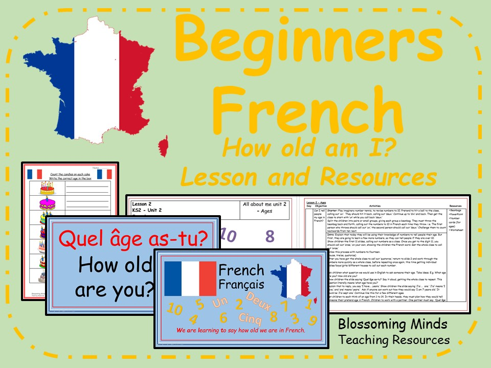 French lesson and resources - How old am I?