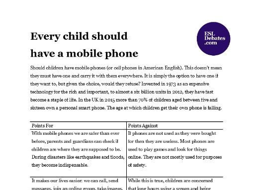 Debate Lesson Plan - Every child should have a mobile phone