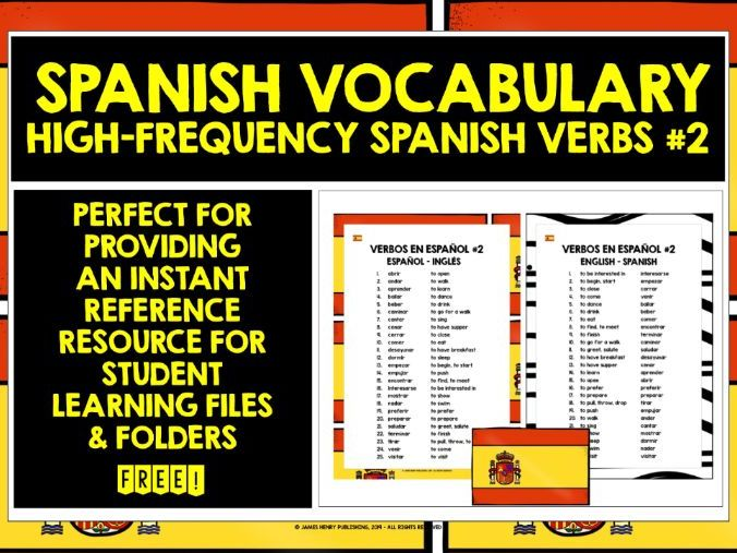 SPANISH VERBS REFERENCE LIST #2