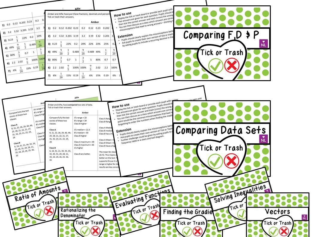 Maths Tick or Trash Worksheet Bundle