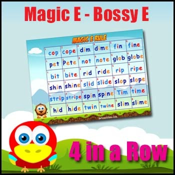picture about Printable Phonic Games titled Bossy E Rule Match - Magic E Rule Phonics Video game - Printable + Video clip Sport