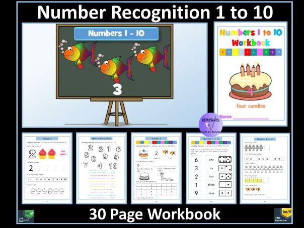 Number Recognition 1 to 10: Workbook - 30 Pages