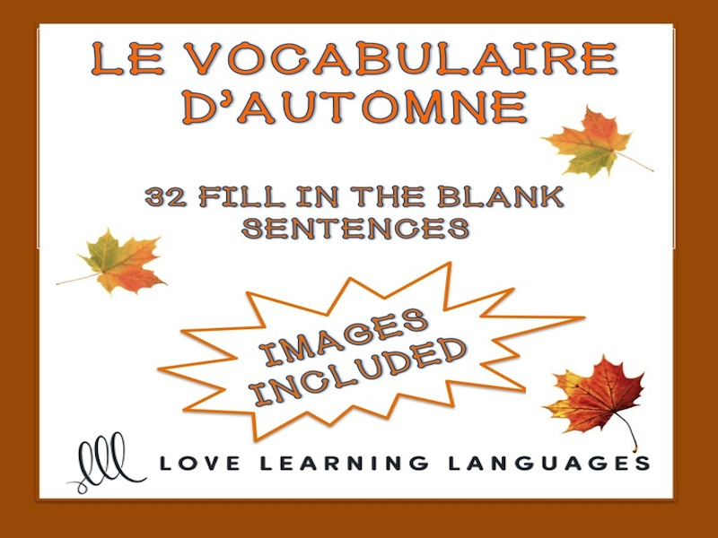 Le vocabulaire d'automne - Word list and worksheet