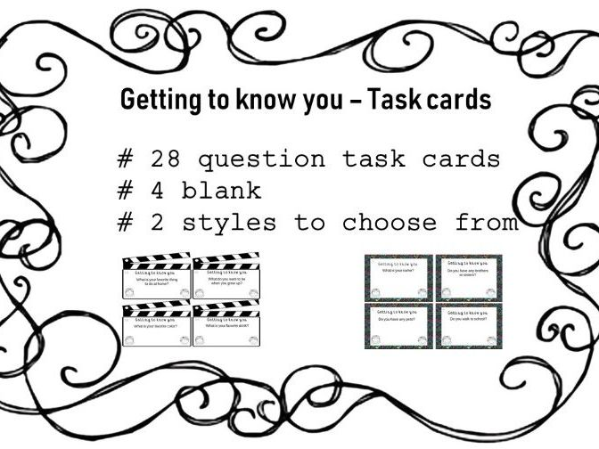 Getting to know you - Task cards -US version