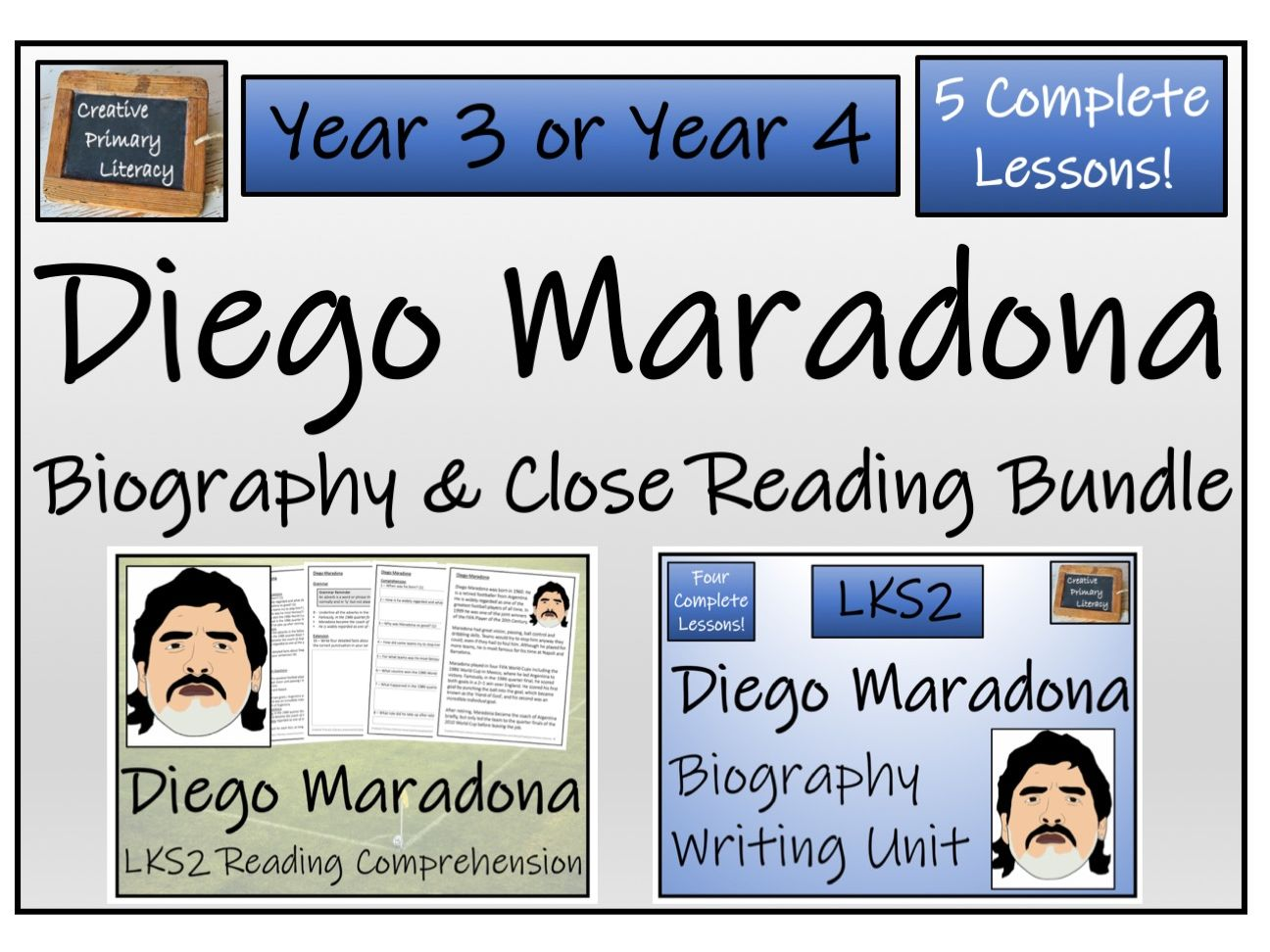 LKS2 Diego Maradona Reading Comprehension & Biography Writing Bundle