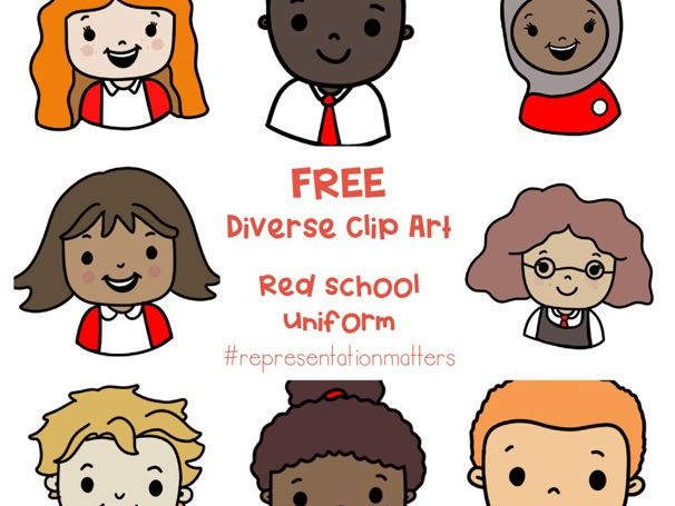 Diverse Pupil Clip Art - Red Uniforms