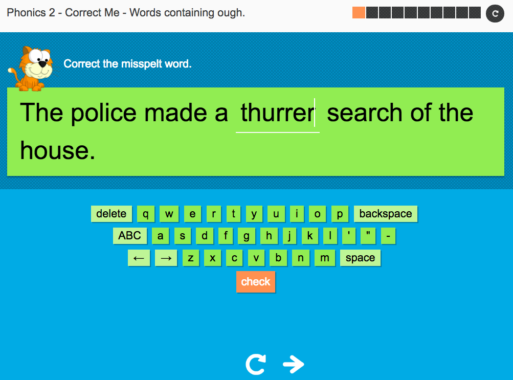 Words containing ough - Interactive Spelling Exercise - Year 5 Spag