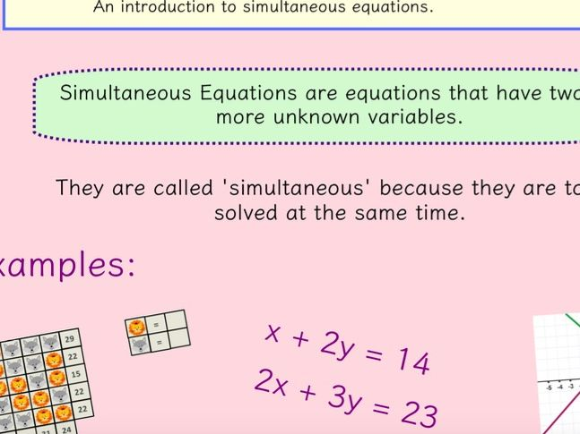 Simultaneous Equations (including worded questions)