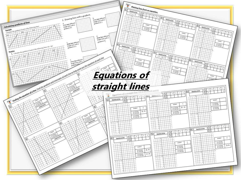 Finding the equation of a line worksheets