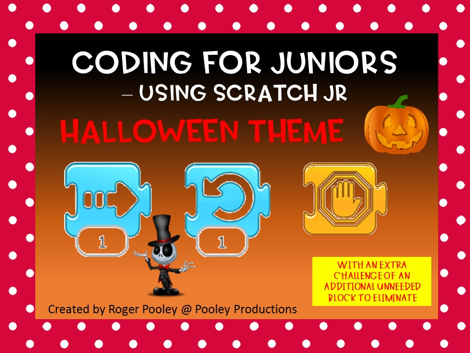 Halloween Coding for Juniors - Using Scratch Jr, with 1 block too many Challenge