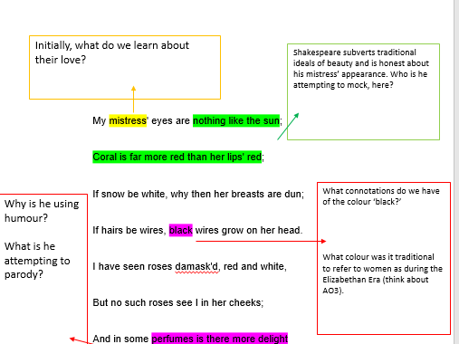Sonnet 130: Guided reading