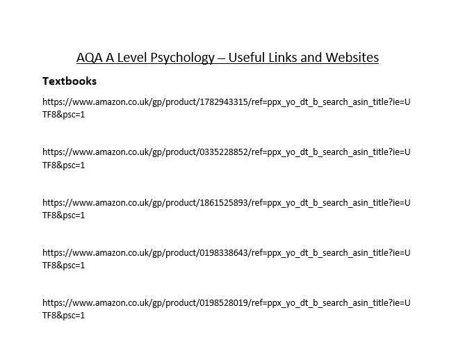 AQA A Level Psychology - Useful Links and Websites
