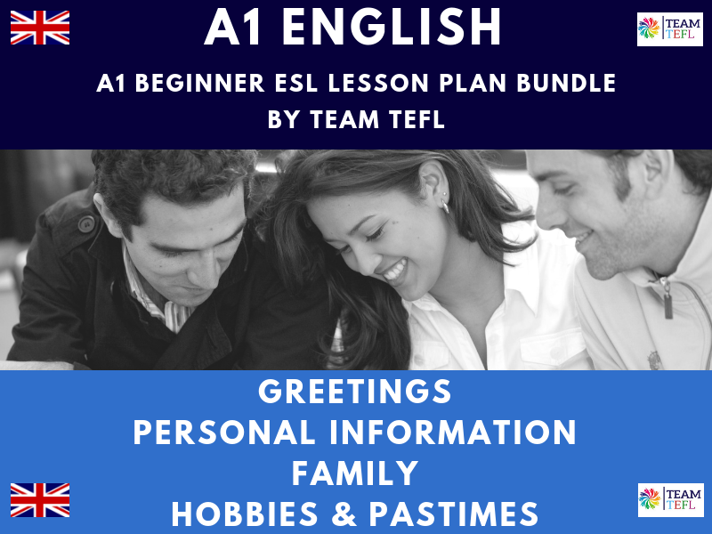 Greetings / Personal Information / Family / Hobbies & Pastimes A1 Beginner ESL Lesson Plan Bundle