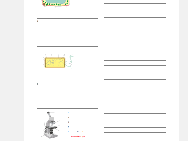 OCR B1 - 3 Key diagrams GCSE Gateway Science
