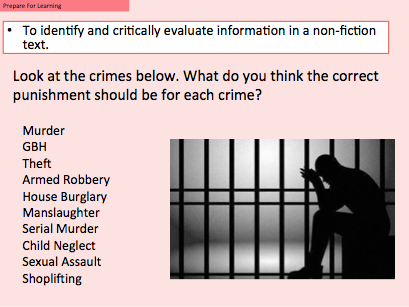 Prison life - AQA Language Paper 2 Question 1 and 4 Comparing non-fiction texts.