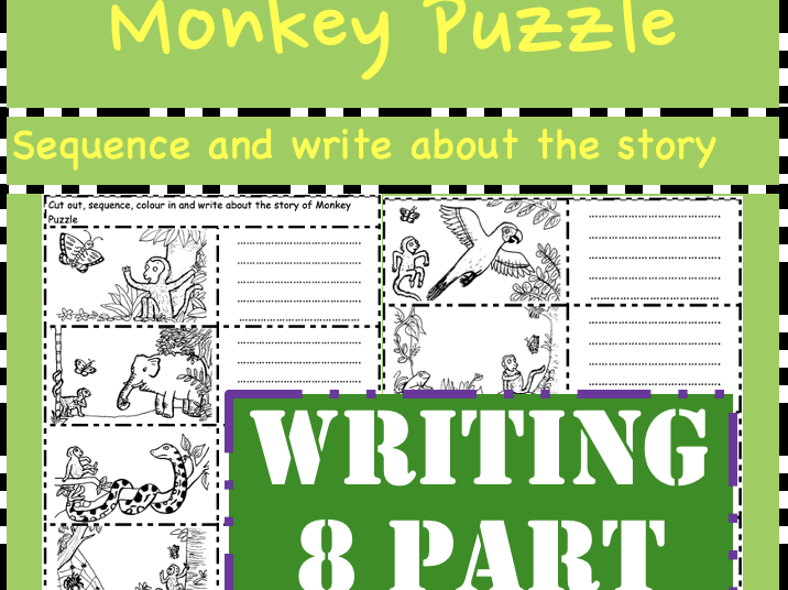 Monkey Puzzle: 8 picture Sequence the story (cut order the story and write!)