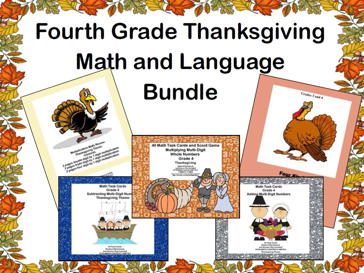 Fourth Grade Thanksgiving  Math and Language  Bundle