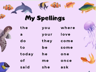 Year 1 Common Exceptions Words - Ocean Theme