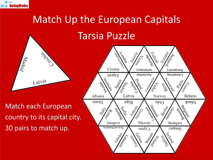 European Capital Cities Tarsia Match-Up Puzzle