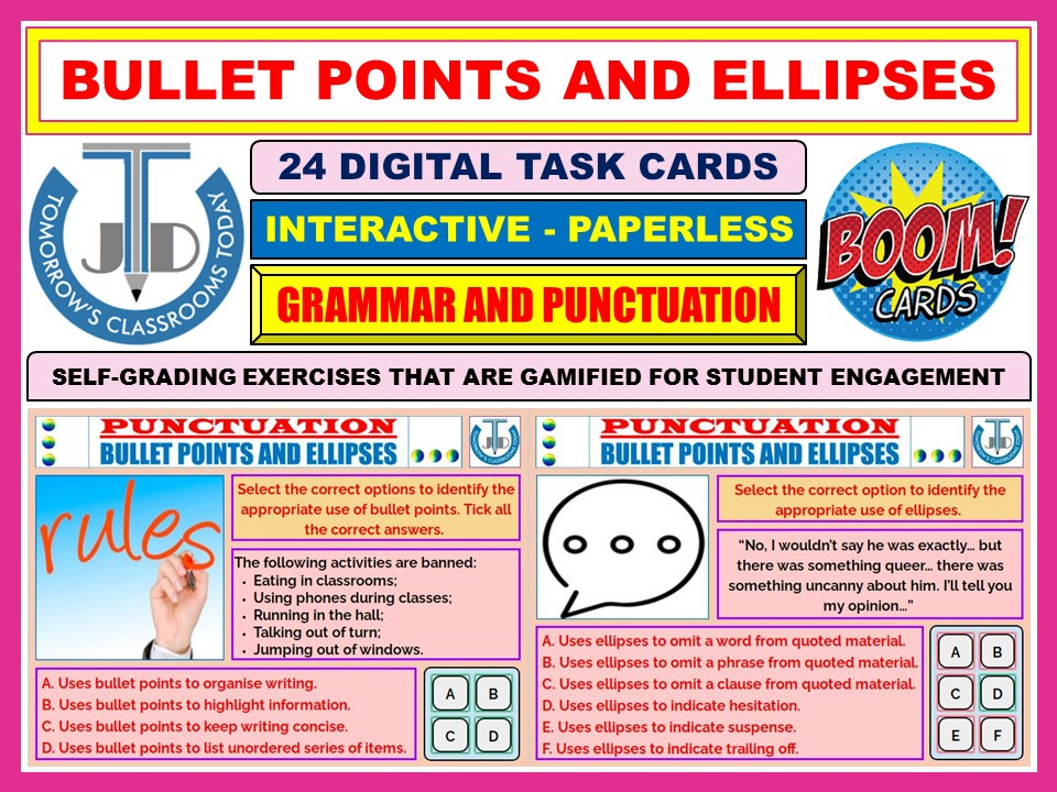 BULLET POINTS AND ELLIPSES - PUNCTUATION: 24 BOOM CARDS