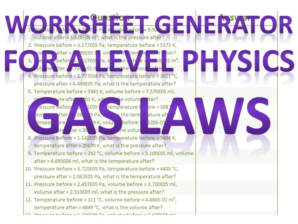 Gas Laws Worksheet Generator