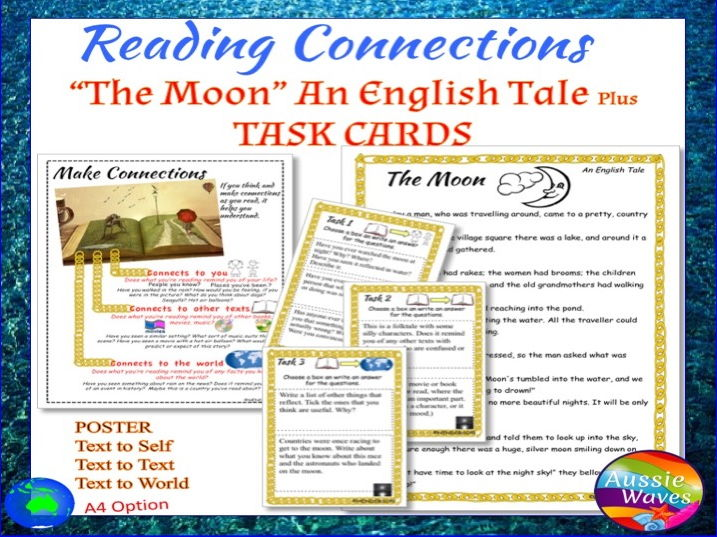 "Myths An English Traditional Tale ""The Moon"" Text & Task Cards Close Questions"