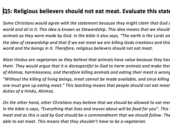 AQA Religious Studies Model answer for 'Religious believers should not eat meat.' Evaluate