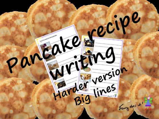 Writing a pancake recipe - harder version with larger line spacing