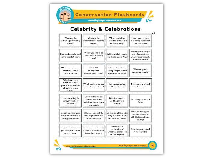 Celebrity & Celebrations - Conversation Flashcards