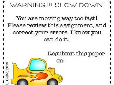 Warning! Slow Down!