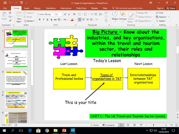 Travel and Tourism BTEC first level 2 - UNIT 1 - lesson 17 - Types of Organisations