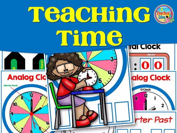 Teaching Time - Telling Time on Analog and Digital Clocks - Posters and Cards