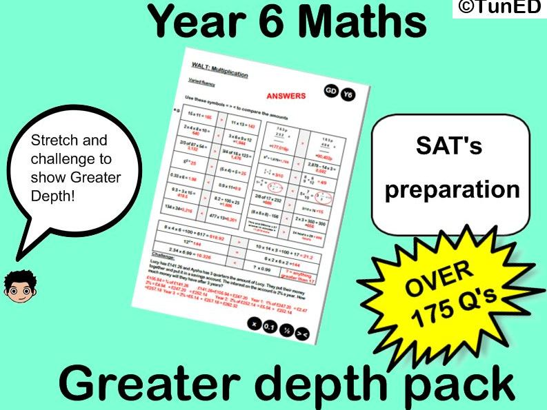 KS2 SATs Maths TEST practice  Greater depth Mastery pack  year 6 arithmetic test