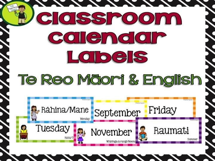 Classroom Calendar Labels - Te Reo Māori and English
