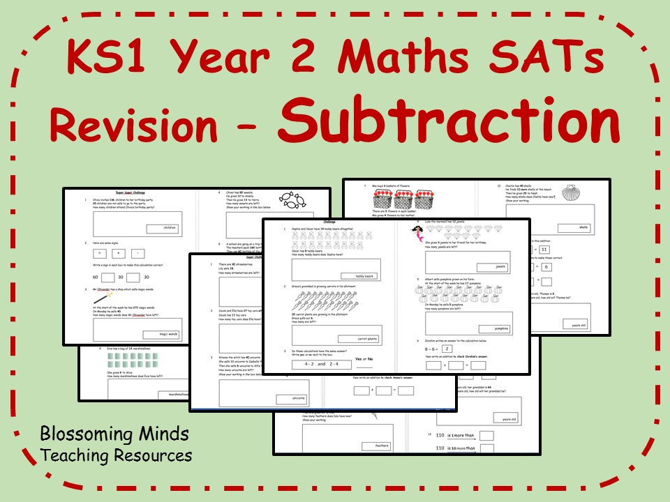 KS1 Year 2 Maths SATs - Subtraction Revision - Differentiated Levels