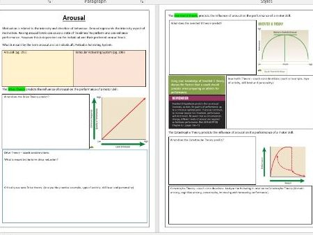 OCR A Level PE - Sports Psychology ILT4 - Arousal and Anxiety.