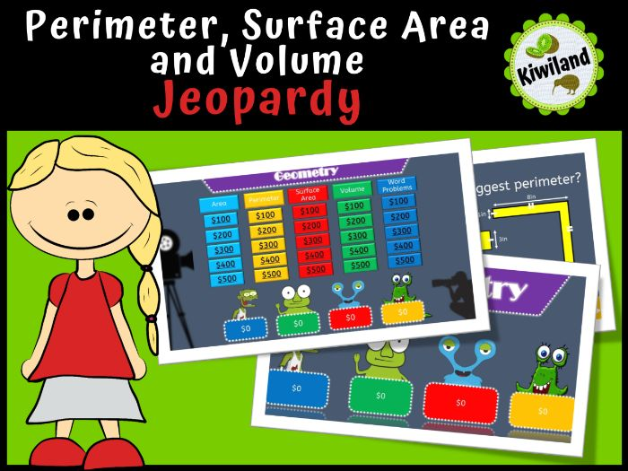 Area, Perimeter, Surface Area and Volume Jeopardy - With Scoreboard