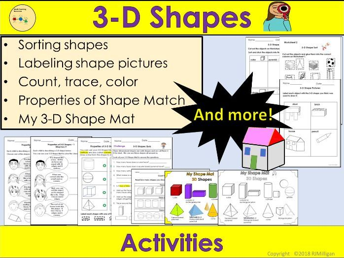 3D Shapes - Sorting Activities, Worksheets, Count Trace Color, Labeling, Match Up - US version