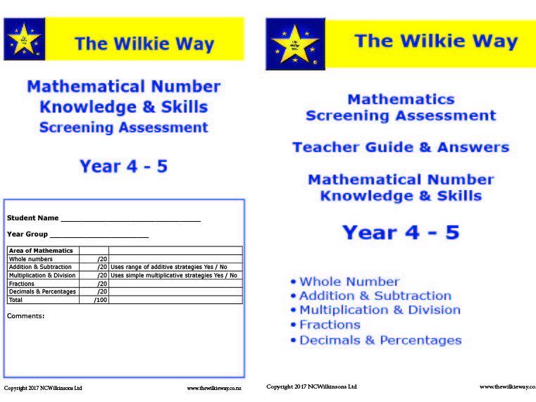 Assessment Screen Year 4 - 5