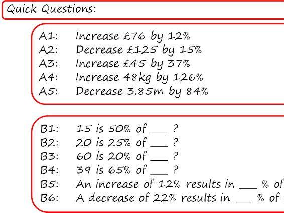 GCSE Higher Percentages Unit