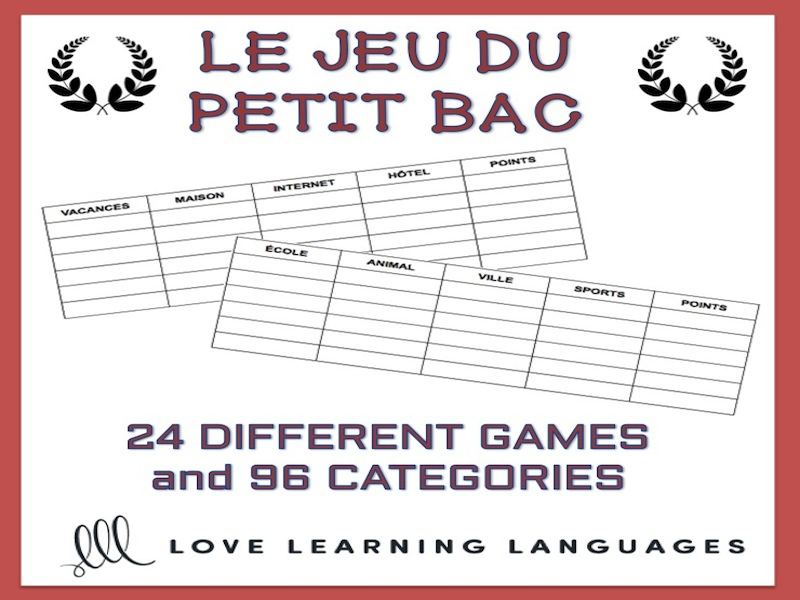 GCSE FRENCH: Le Petit Bac - French Scattergories Game