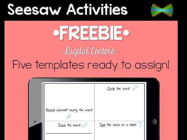 Seesaw Activities - *FREEBIE* Math & Language Templates