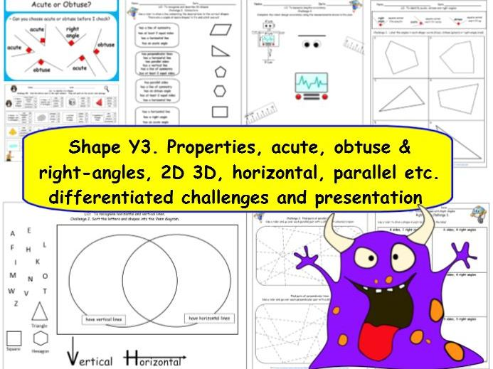 Shape Y3 Small Steps - Properties, angles, 2D 3D, differentiated challenges and presentation