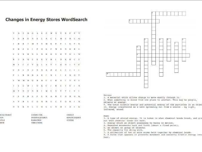 Changes in Energy Stores Word Search and Crossword