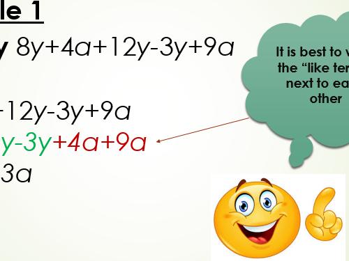 Simplifying algebraic expressions power point presentation