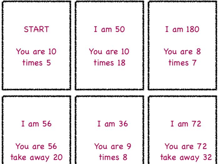 """Maths """"I am"""" card chain game"""