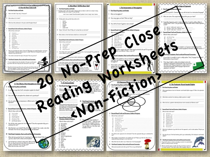 No Prep Close Reading Passages - Non-Fiction