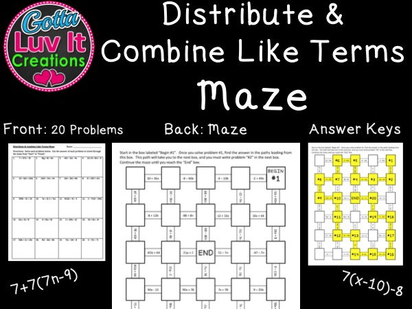 Distribute & Combine Like Terms - 2 Mazes